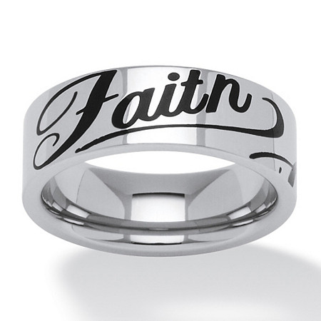 Faith Ring in Black IP Stainless Steel at PalmBeach Jewelry