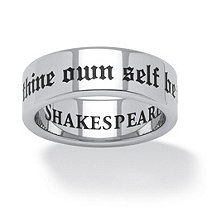 """To Thine Own Self Be True"" Shakespeare Ring in Black Ion-Plated Stainless Steel"
