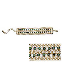 Green Crystal Triple Row Curb-Link Bracelet in Yellow Gold Tone