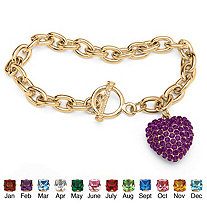 SETA JEWELRY Crystal Heart Charm Birthstone Toggle Bracelet in Yellow Gold Tone