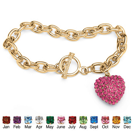 Crystal Heart Charm Birthstone Toggle Bracelet in Yellow Gold Tone at PalmBeach Jewelry
