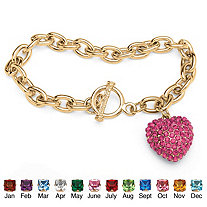 Crystal Heart Charm Simulated Birthstone Toggle Bracelet in Yellow Gold Tone