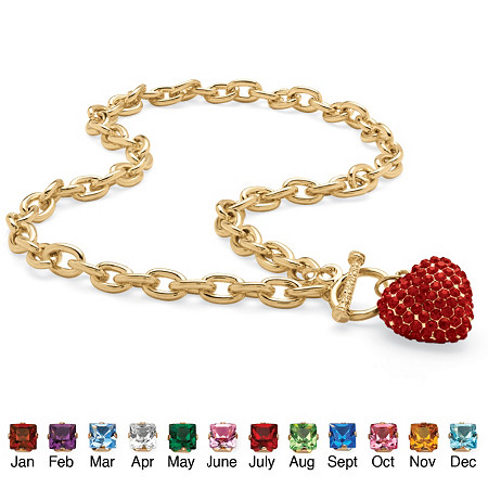 Crystal Heart Charm Birthstone Toggle Necklace in Yellow Gold Tone at PalmBeach Jewelry