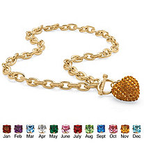 SETA JEWELRY Crystal Heart Charm Simulated Birthstone Toggle Necklace in Yellow Gold Tone