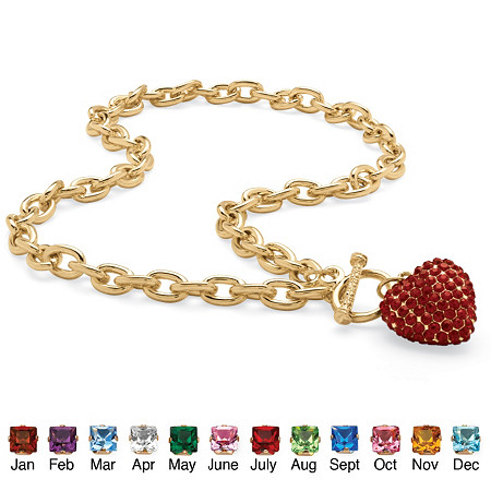 Crystal Heart Charm Simulated Birthstone Toggle Necklace in Yellow Gold Tone at PalmBeach Jewelry