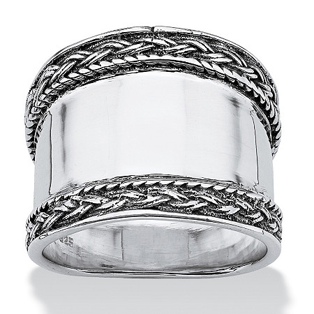 Cigar Band Style Ring with Braided Edge in Sterling Silver at PalmBeach Jewelry