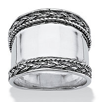 Cigar Band Style Ring with Braided Edge in Sterling Silver