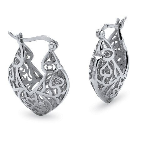 Filigree Heart .925 Sterling Silver Hoop Earrings (1 3/16