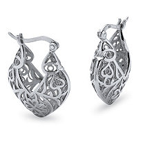 "Filigree Heart .925 Sterling Silver Hoop Earrings (1 3/16"")"