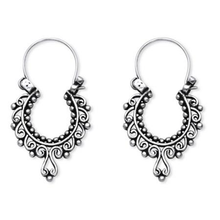 Openwork Scroll Drop Earrings in .925 Sterling Silver at PalmBeach Jewelry