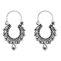 Openwork Scroll Drop Earrings in .925 Sterling Silver