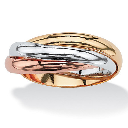 Interlocking Rings in Tri-tone Rose Gold-Plated, 18k Gold-Plated and Silvertone at PalmBeach Jewelry