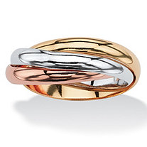SETA JEWELRY Interlocking Rings in Tri-tone Rose Gold-Plated, 18k Gold-Plated and Silvertone