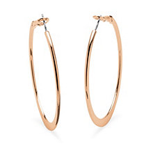 Hoop Earrings in Rose Gold-Plated With Surgical Steel Posts  (2