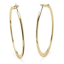 Hoop Earrings in 18k Gold-Plated with Surgical Steel Posts 2""