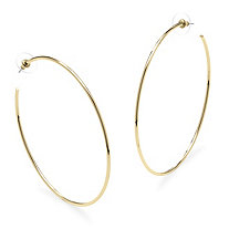 "Hoop Earrings in 18k Gold-Plated with Surgical Steel Posts (3 1/4"")"