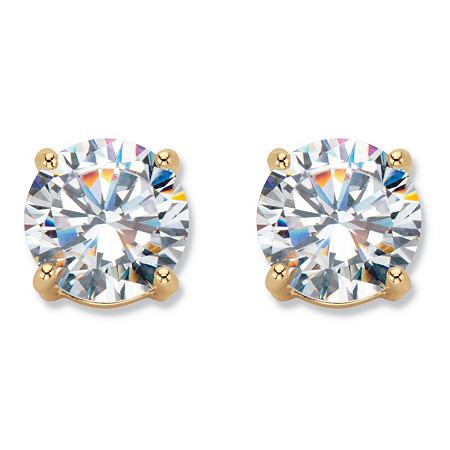 6 TCW Cubic Zirconia Clip-On Earrings 18k Gold-Plated at PalmBeach Jewelry