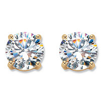 Round Cubic Zirconia Stud Earrings 6 TCW 18k Gold-Plated