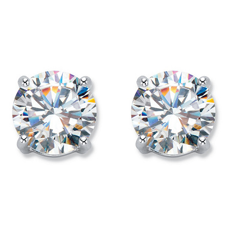 6 TCW Cubic Zirconia Clip-On Earrings Silvertone at PalmBeach Jewelry