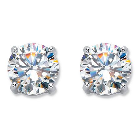 Round Cubic Zirconia Stud Earrings 6 TCW in Silvertone at PalmBeach Jewelry