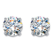 Round Cubic Zirconia Stud Earrings 6 TCW in Silvertone