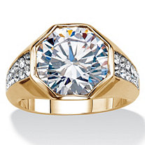 Men's 6 TCW Round Cubic Zirconia Octagon Ring 14K Gold-Plated