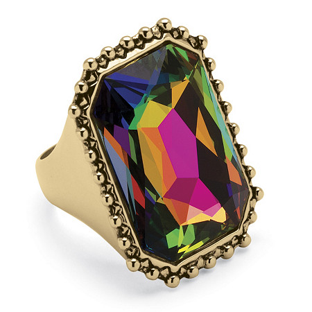 Emerald-Cut Aurora Borealis Crystal Cocktail Ring 14k Gold-Plated at PalmBeach Jewelry