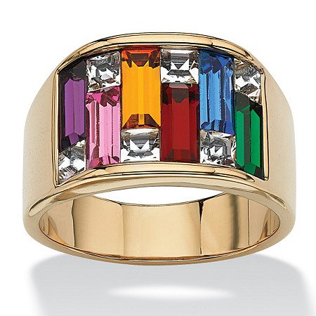 Multicolor Simulated Gemstone Baguette Ring 1.95 TCW 14k Gold-Plated at PalmBeach Jewelry