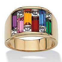 SETA JEWELRY Multicolor Simulated Gemstone Baguette Ring 1.95 TCW 14k Gold-Plated