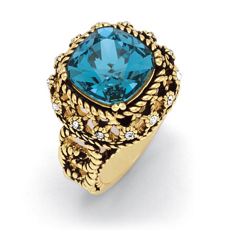 Blue Cushion-Cut Crystal Rope Ring Antiqued 14k Gold-Plated at PalmBeach Jewelry