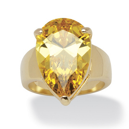 15.47 Carat Yellow Pear-Cut Cubic Zirconia Ring 14k Gold-Plated at PalmBeach Jewelry