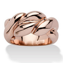 SETA JEWELRY Braided Ring in Rose Gold-Plated