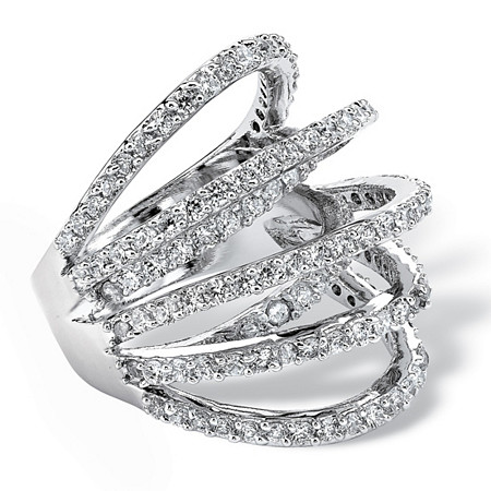 2.81 TCW Cubic Zirconia Highway Ring in Silvertone at PalmBeach Jewelry
