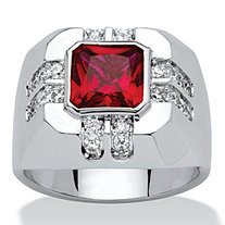 Men's 2.12 TCW Red Cushion-Cut Cubic Zirconia Ring Platinum-Plated
