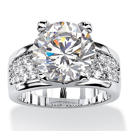 Round Cubic Zirconia Bridge Engagement Ring 6.96 TCW Platinum-Plated at PalmBeach Jewelry