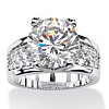 Related Item Round Cubic Zirconia Bridge Engagement Ring 6.96 TCW Platinum-Plated