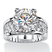 Round Cubic Zirconia Bridge Engagement Ring 6.96 TCW Platinum-Plated
