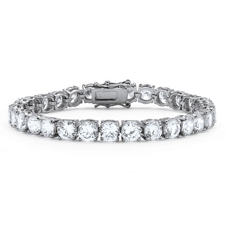 27 TCW Round Cubic Zirconia Tennis Bracelet Platinum Plated at PalmBeach Jewelry