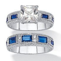 SETA JEWELRY Princess-Cut Cubic Zirconia and Simulated Blue Sapphire Wedding Ring Set 5.45 TCW Platinum-Plated