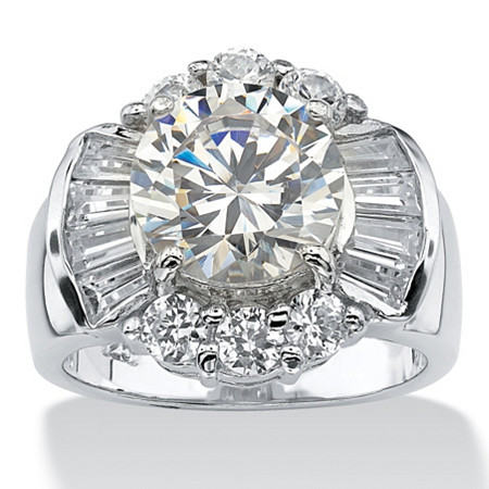 7.15 TCW Round Cubic Zirconia Engagement/Anniversary Ring in Platinum over Sterling Silver at PalmBeach Jewelry