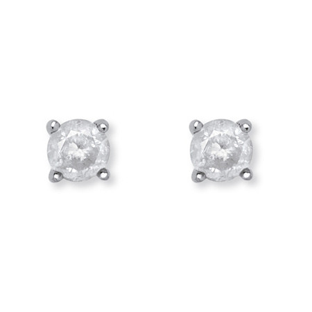 1/5 TCW Round Diamond Stud Earrings in Sterling Silver at PalmBeach Jewelry