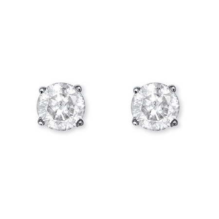 1/2 TCW Diamond Stud Earrings in Sterling Silver at PalmBeach Jewelry