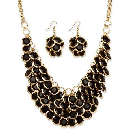 Black Bib Fashion Necklace and Cluster Earrings Two-Piece Set in Yellow Gold Tone at PalmBeach Jewelry
