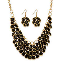 Black Bib Fashion Necklace and Cluster Earrings Two-Piece Set in Yellow Gold Tone