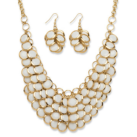 White Lucite Bib Necklace and Cluster Earrings Set in Yellow Gold Tone at PalmBeach Jewelry