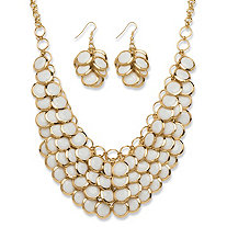 White Lucite Bib Necklace and Cluster Earrings Set in Yellow Gold Tone