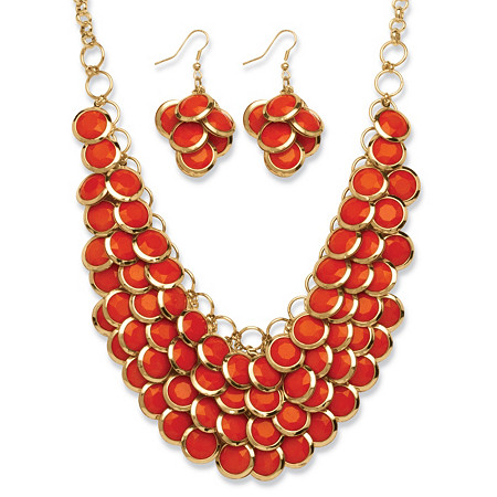 2 Piece Orange Bib Necklace and Cluster Earrings Set in Yellow Gold Tone at PalmBeach Jewelry