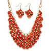 Related Item 2 Piece Orange Bib Necklace and Cluster Earrings Set in Yellow Gold Tone