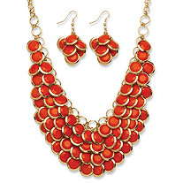 SETA JEWELRY 2 Piece Orange Bib Necklace and Cluster Earrings Set in Yellow Gold Tone