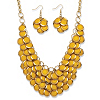 Related Item 2 Piece Yellow Bib Necklace and Cluster Earrings Set in Yellow Gold Tone